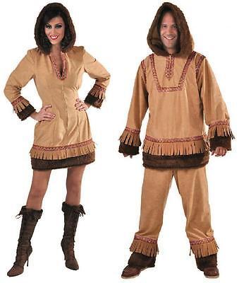 Eskimo Damen Kostüm (Eskimo Eskimokostüm Arktis Forscher Polar Mann Eis Kostüm Kleid Herren Fell Dame)