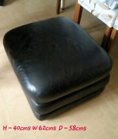 Black leather storage footstool REDUCED