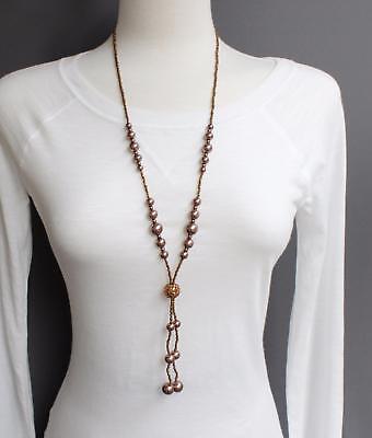 Long Lariat - Brown necklace tassel bead pendant 28