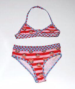 Paul Frank Small Monkey Heads Bikini Swimset Size 4 NWOT