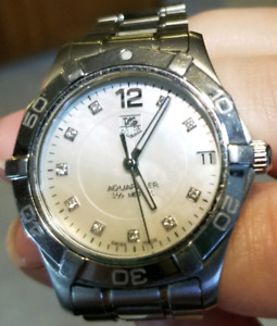 Tag Heuer women's Aquaracer mother of pearl diamond watch