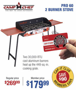 """Camp Chef PRO 60 - 14"""" Two burner cooktop stove - NOW $179.99"""