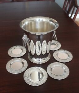 Antique - Silver Plated Wine Bucket with Silver plated Coasters