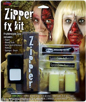 Halloween Zombie Blutiges Gesicht Reißverschluss Spezialeffekte Make-up