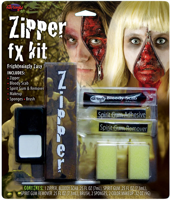Halloween Zombie Bloody Face Zip Special Effects Make Up Fancy Dress Costume Kit
