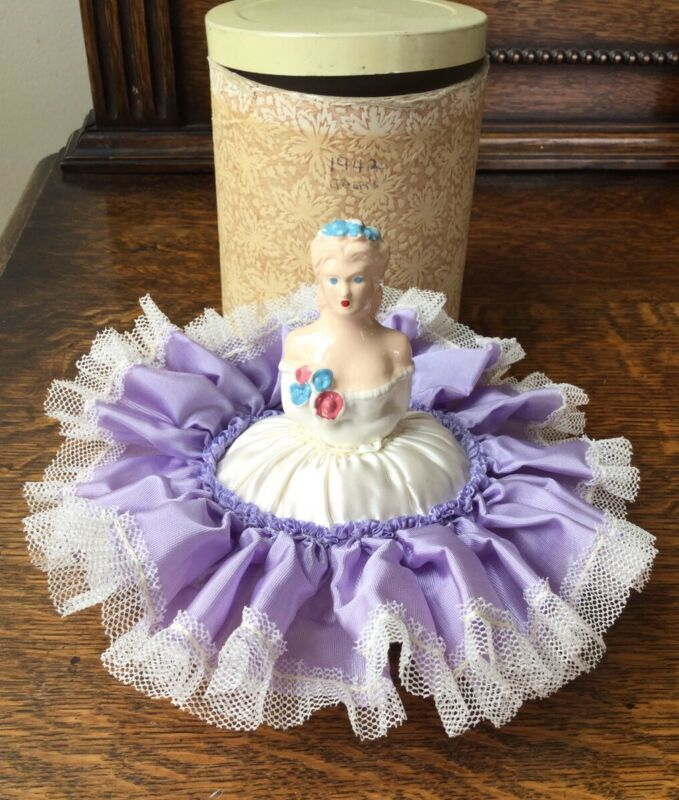 HALF DOLL PIN CUSHION WITH ORIGINAL BOX / CONTAINER MARKED 1942