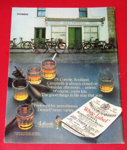 1979 DEWAR'S WHITE LABEL WHISKEY AD + AMARETTO ON BACK - RETRO