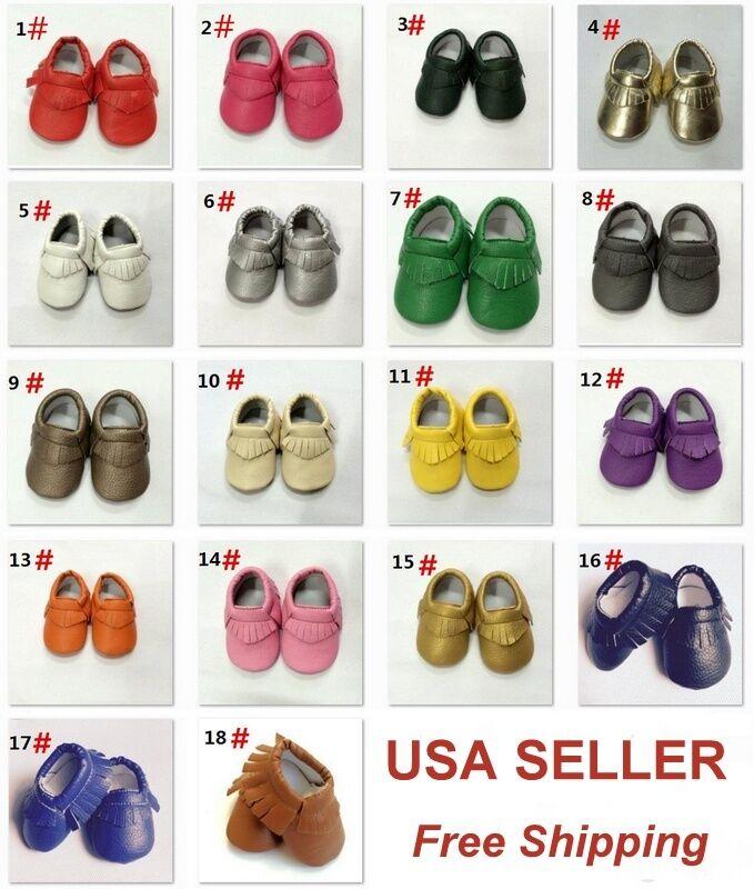Soft Sole Leather Shoes Baby Toddler Infant Boy Girl Tassel Moccasin USA SELLER