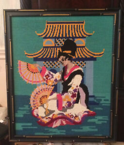 OLDER  TAPESTRY /EMBROIDERY .JAPANESE GEISHA /PAGODA /FANS