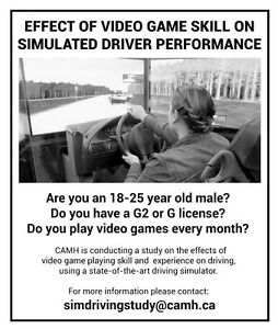 RESEARCH SUBJECTS NEEDED: Video Games and Driving Study