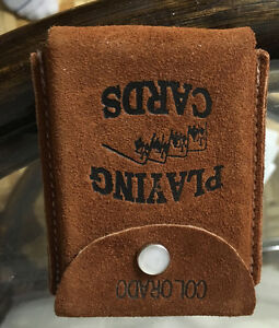 Vtg playing cards suede holder with cards