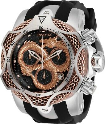 Invicta Reserve Mens 52mm Swiss Venom Dragon Rose-Gold Black Dial Strap Watch
