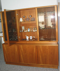 TEAK DINING TABLE with 2 LEAVES, 6 CHAIRS, BUFFET and HUTCH
