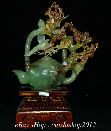 "18"" China Natural Xiu Jade Jadeite Carved Plum Blossom Flower Bird Kettle Pot"