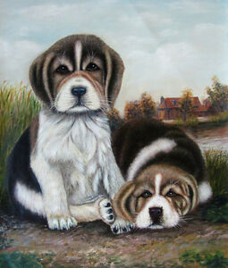 Two Cute Puppies portrait, hand painted oil painting on canvas