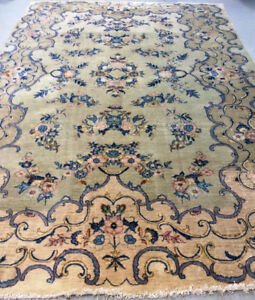 Semi-Antique Persian Rug ,11.7 x 7 ft,Stage Green,Navy Blue,Brow