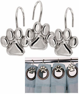 set 12 dog cat paw print silver shower curtain hooks dog