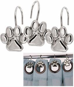 set 12 dog cat paw print silver shower curtain hooks dog