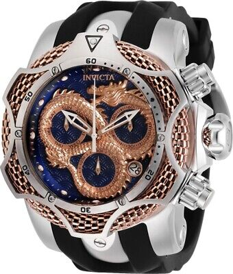 Invicta Reserve Mens 52mm Swiss Venom Dragon Rose-Gold Blue Dial Strap Watch