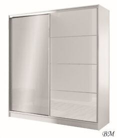 Smethwick 203cm Mirrored High Gloss Door Wardrobe - White