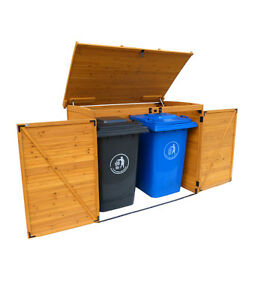LARGE TRASH CAN STORAGE SHED, CEDAR, GARAGE, BACKYARD, PATIO