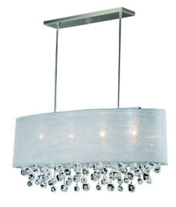 Oval Ribbed Glass Tube Chandelier Pendant lampe Luminaire