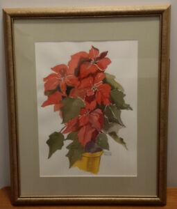 """Reduced! Frances Turner """"Poinsettia"""" Watercolor"""