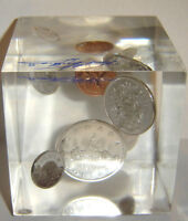 1963 LUCITE COIN CUBE SILVER DOLLAR  & ALL COINS