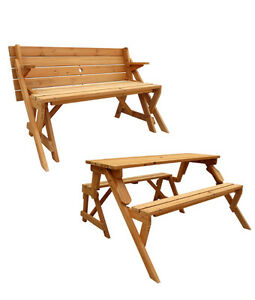 CONVERTIBLE PICNIC TABLE & GARDEN BENCH, CEDAR, PATIO, YARD