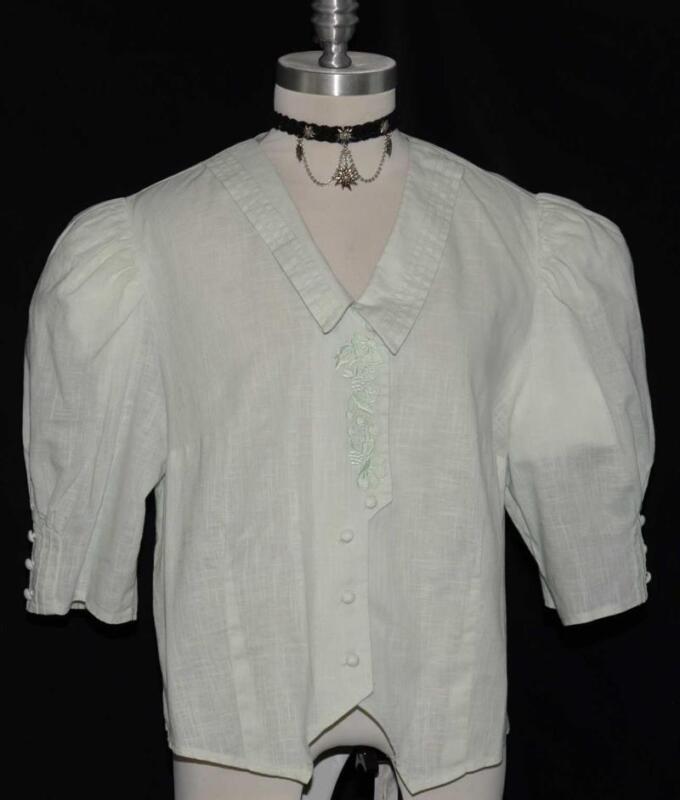"""Victorian Blouse Shirt Top GREEN Fitted German Women Summer Skirt B45"""" 18 XL"""