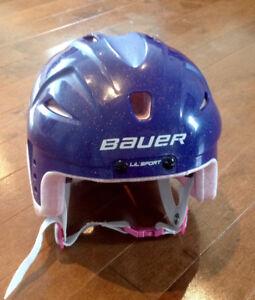 Like new! Youth 6-6 3/4 purple glitter hockey helmet!!! $20.00