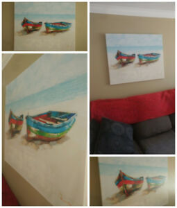 Two Canoes ~Beautiful painting~ aqua/red accents
