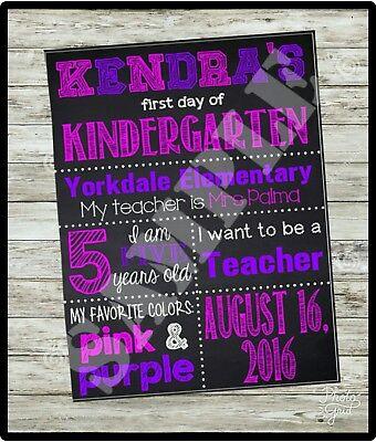 CUSTOM FIRST Day of School Sign, 1st Day KINDERGARTEN Chalkboard sign, U Print - 1st Day Of Kindergarten