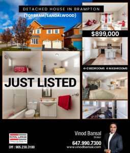 Detached house for sale in Brampton | Ph: 647-990-7300