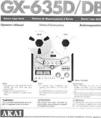 Akai GX-635D GX-635DB Tape Deck Owners Instruction Manual