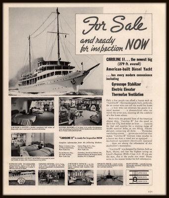 1938 AD FOR SALE CAROLINE II DIESEL YACHT GYROSCOPE DESIGN GIELOW BATH ME