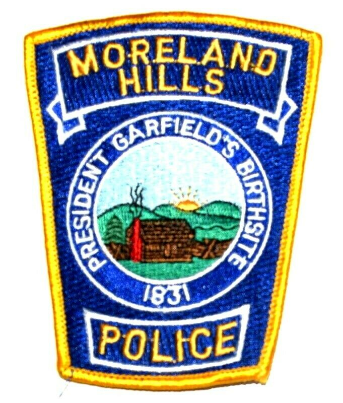 MORELAND HILLS OHIO OH Sheriff Police Patch CITY SEAL LOG CABIN MOUNTAINS SUNRIS