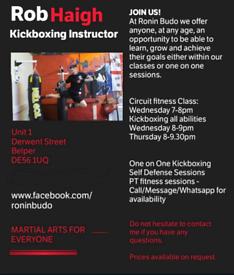Kickboxing classes, circuit training, self defense