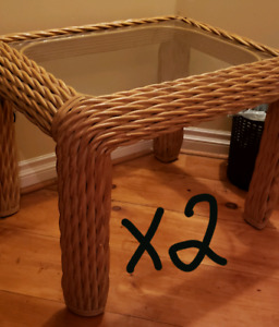 RATTAN SIDE TABLES X2