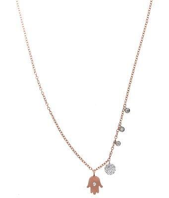 Meira T 14K Rose Gold   Diamond Hamsa Necklace 0 14 Cts
