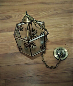 Vintage Brass And Glass hanging Lamp