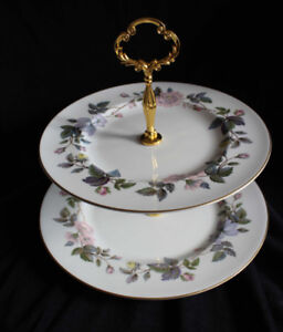 ROYAL WORCESTER LARGE 2 TIER CAKE STAND - JUNE GARLAND