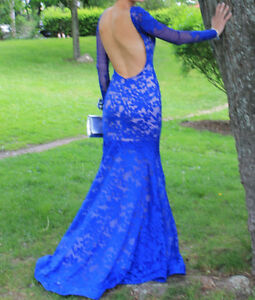 Beautiful Lace Royal Blue Formal Prom Dress
