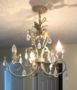 Antique chandelier and lamps