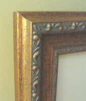 Ornate Gold Finish Wood Frame with Off White Conservation Mat...