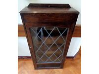 Vintage Antique Wooden Cabinet With Leaded Glass Door