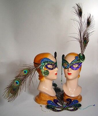 katherine's Collection jester mask Mardi Gras Peacock feather 18-80892 set