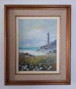 1995 Nova Scotia Art - Painting by J.R. Moore -Signed - in Frame