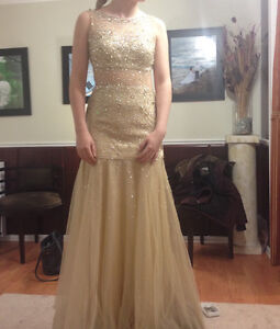 Beautiful Champagne Prom Dress or Evening Gown