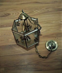 Vintage Brass And Glass Ceiling Lamp